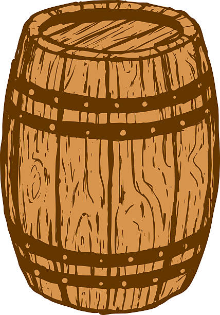 An illustration of a wood barrel vector art illustration