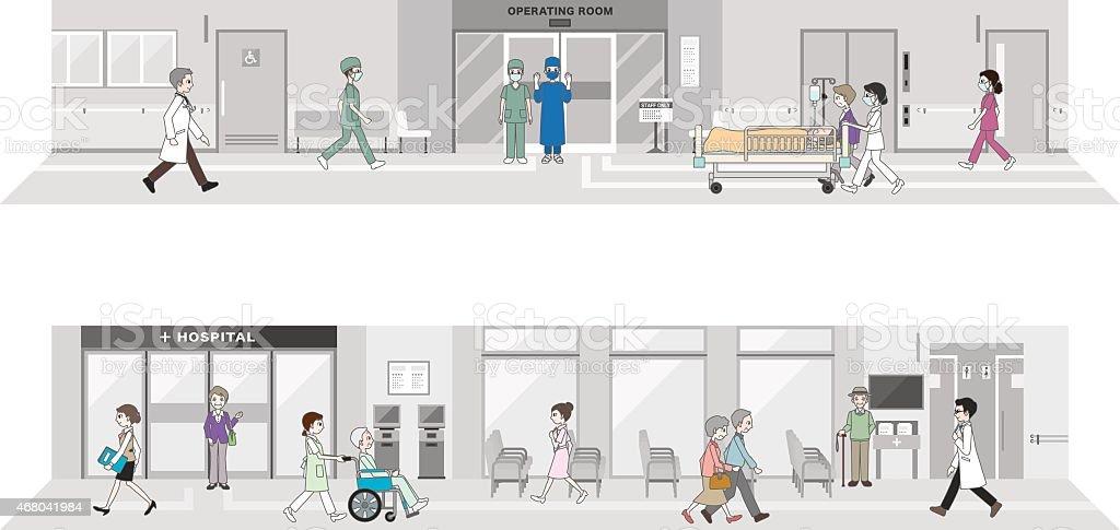 An illustration of a working hospital vector art illustration