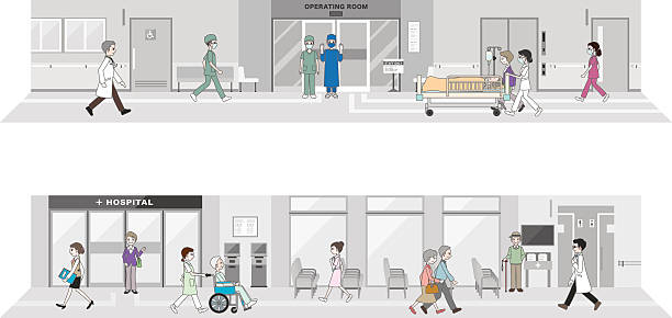 an illustration of a working hospital - old man mask stock illustrations, clip art, cartoons, & icons