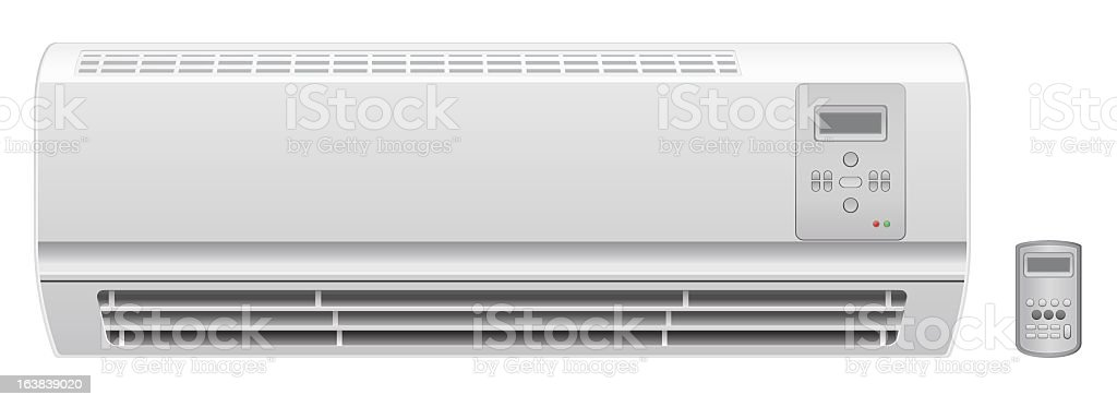 An illustration of an air conditioner with a remote royalty-free stock vector art