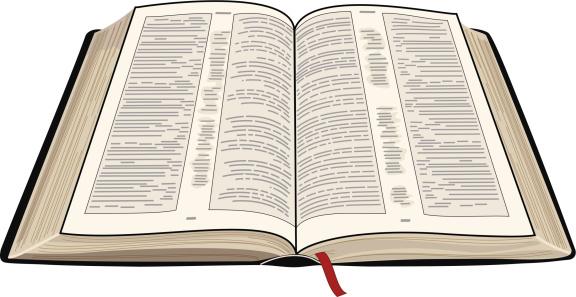 An illustration of an open Bible