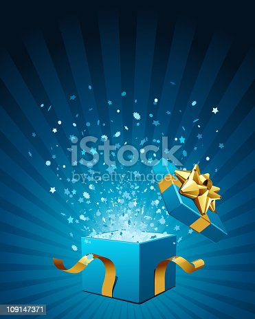 Open explosion box gift with fly stars vector background