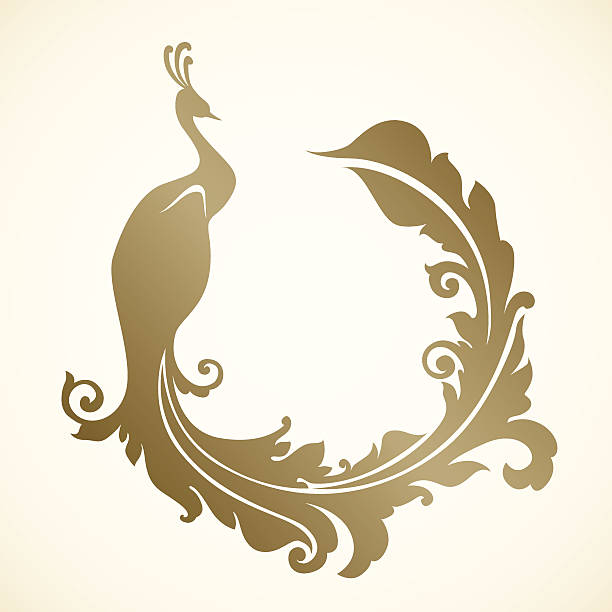 An illustration of an ornamental frame with peacock in gold Ornamental vector frame with peacock mistery stock illustrations