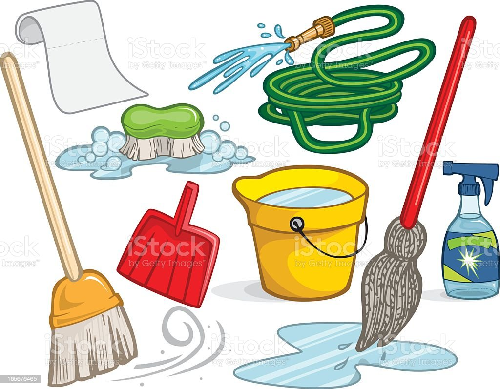 An Illustration Of Cleaning Supplies Stock Illustration