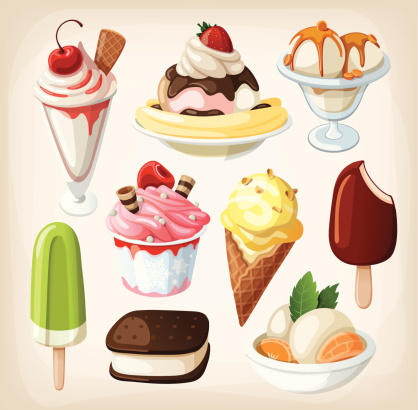An illustration of colorful tasty ice cream