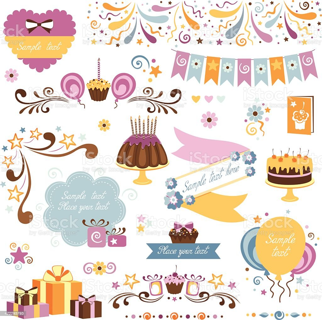 An illustration of different designs of birthday celebration royalty-free stock vector art