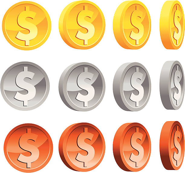 An illustration of dollar coins in various colors Gold, silver & copper dollar coins. dime stock illustrations