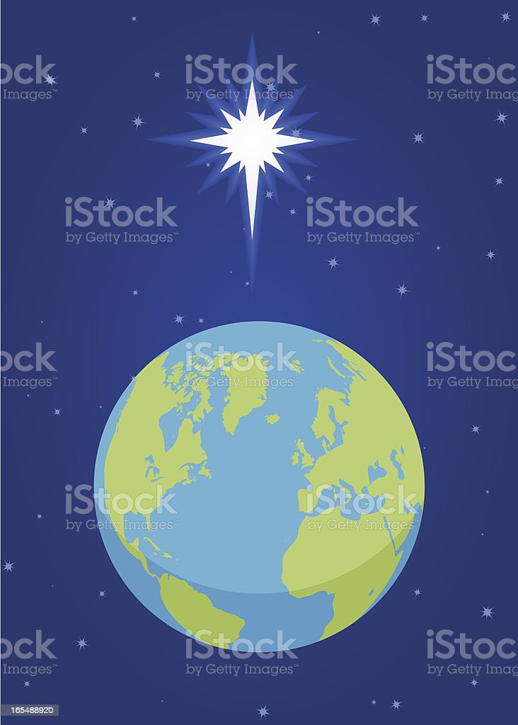 An illustration of Earth from space representing peace royalty-free stock vector art