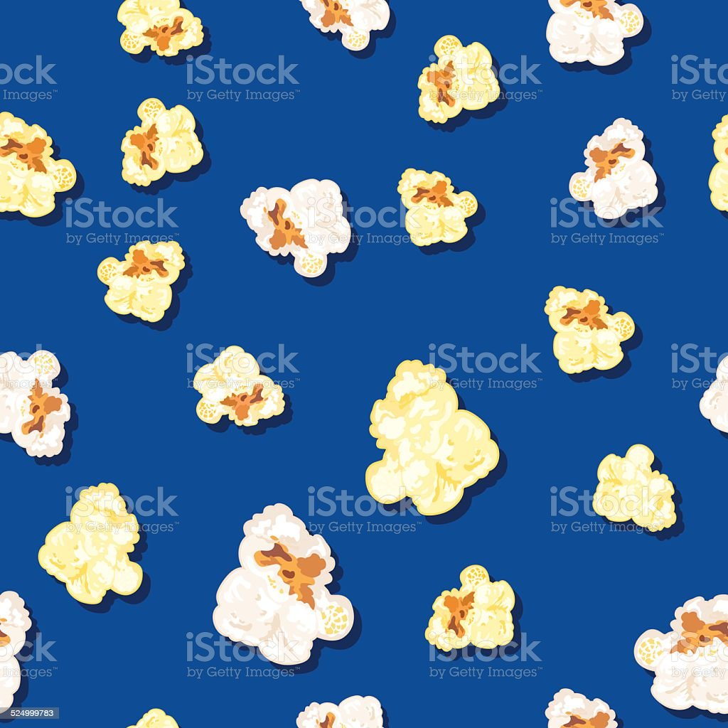 An illustration of kernels of popcorn on a blue background. vector art illustration