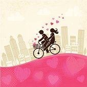 An illustration of lovers biking on a pink hill
