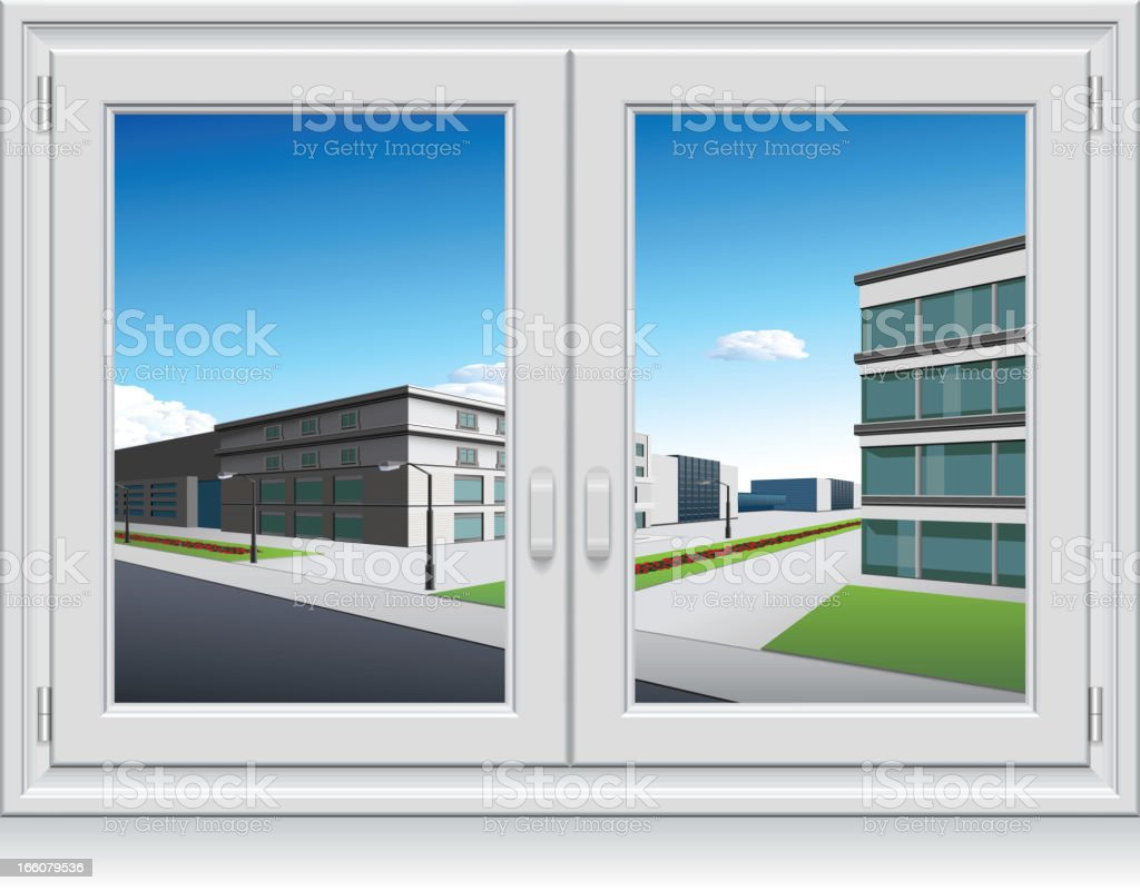 An illustration of multi-story buildings out a closed window vector art illustration