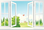 An illustration of open windows with a scenic view