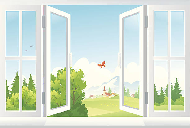 an illustration of open windows with a scenic view vector art illustration