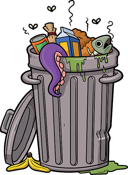 An illustration of rubbish in a trash can vector art illustration