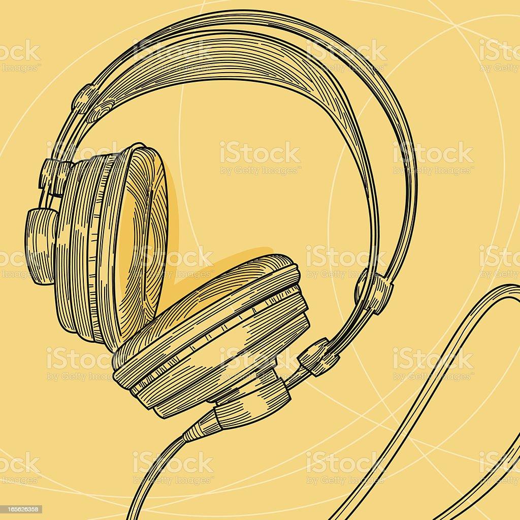 An illustration of studio headphones vector art illustration