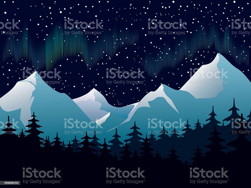 Luzes do norte - ilustração de arte em vetor