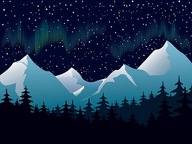 illustrazioni stock, clip art, cartoni animati e icone di tendenza di northern lights - aurora boreale