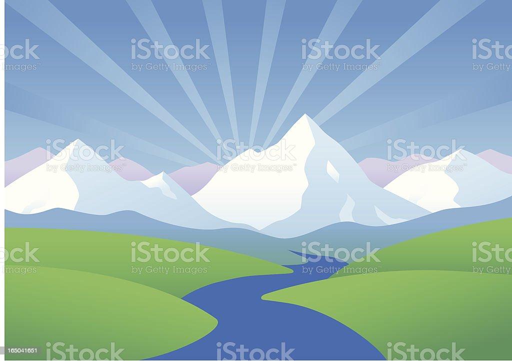 An illustration of the sun peaking over mountains vector art illustration