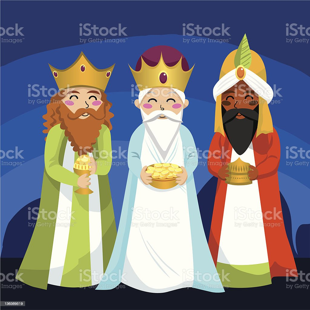 An illustration of the three wise men royalty-free stock vector art