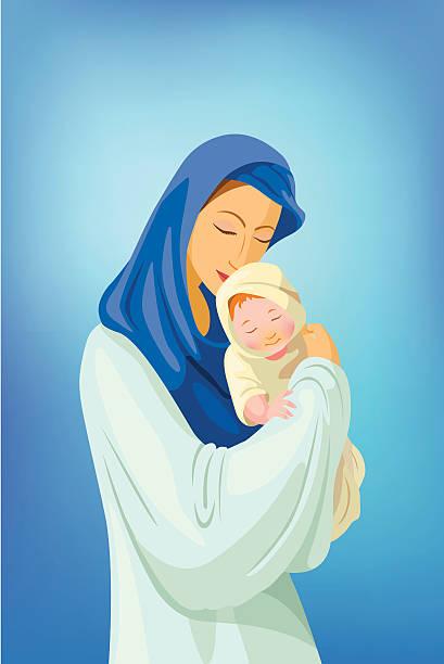 Jungfrau Maria mit baby Jesus – Vektorgrafik