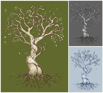 An illustration of three curvy trees