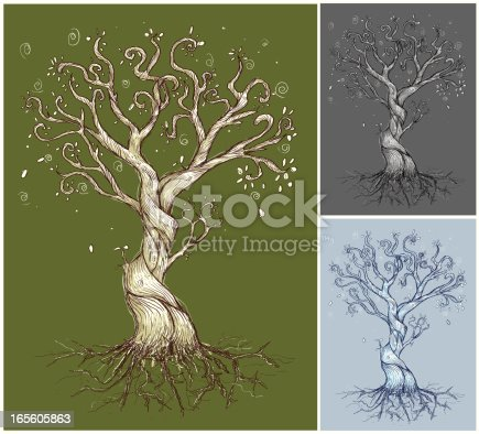 A funky hand drawn tree completely vector. Includes alternate color options. Ready to be used by itself or in a design.