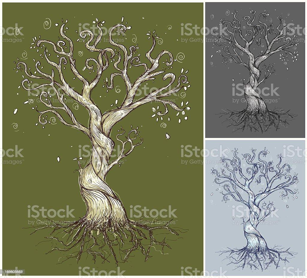 An illustration of three curvy trees vector art illustration