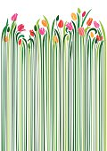 An original artwork vector illustration of the springtime Tulip flower in various nuances of the colors yellow, red, pink, with green buds and long stems in various shades of green, all on white background. A vertical portrait composition, seamless pattern. Can be used as a postcard, a flyer, wrapping paper.