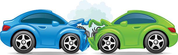 bildbanksillustrationer, clip art samt tecknat material och ikoner med an illustration of two broken sports car due to an accident - krockad bil