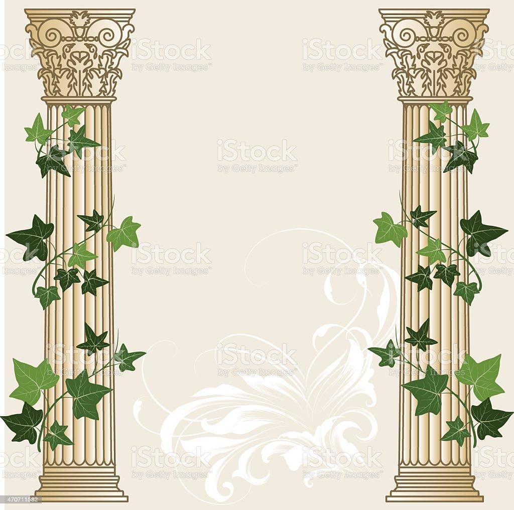 An illustration of two ivy columns vector art illustration