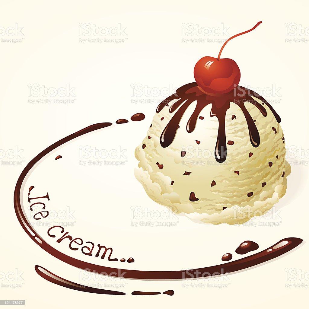 An illustration of vanilla chocolate chip ice-cream royalty-free stock vector art