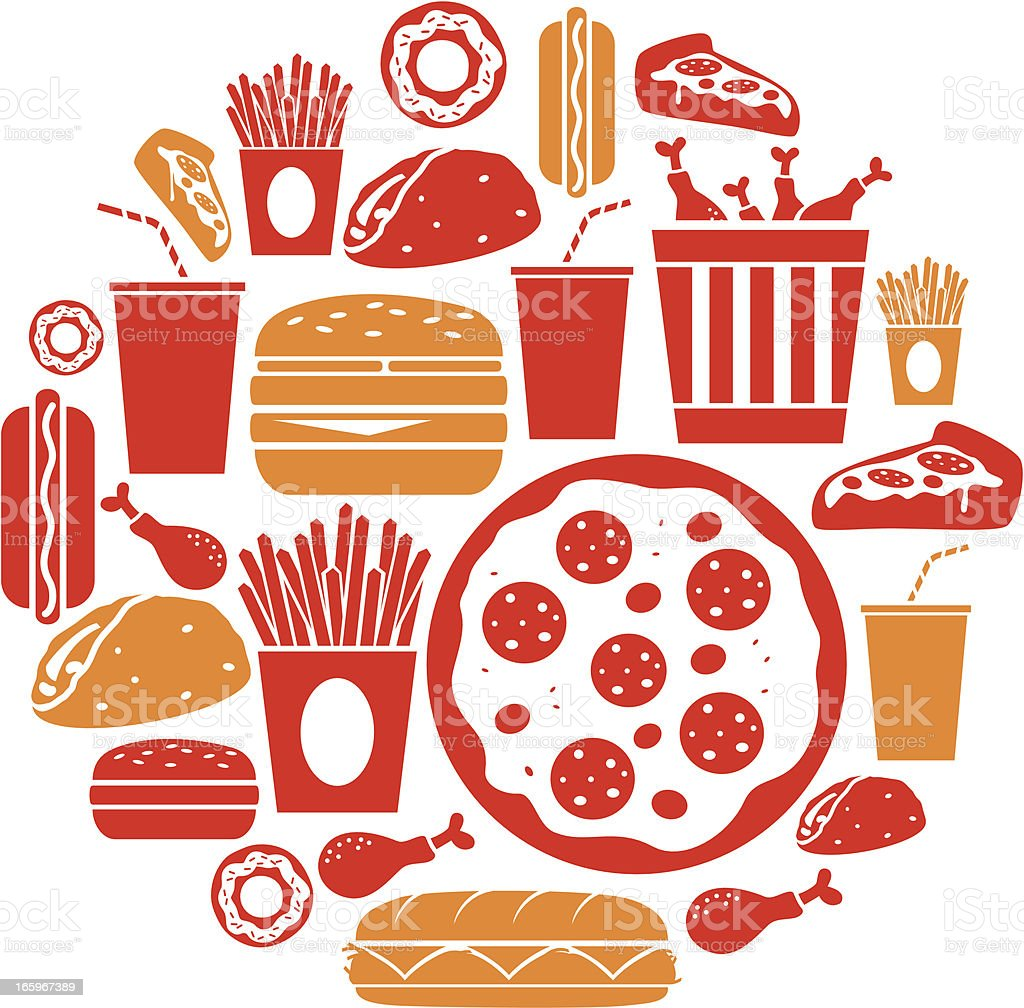 An illustration of various fast food icons royalty-free stock vector art