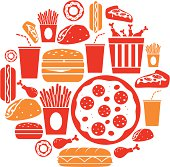 A set of fast food icons. See below for more food images.