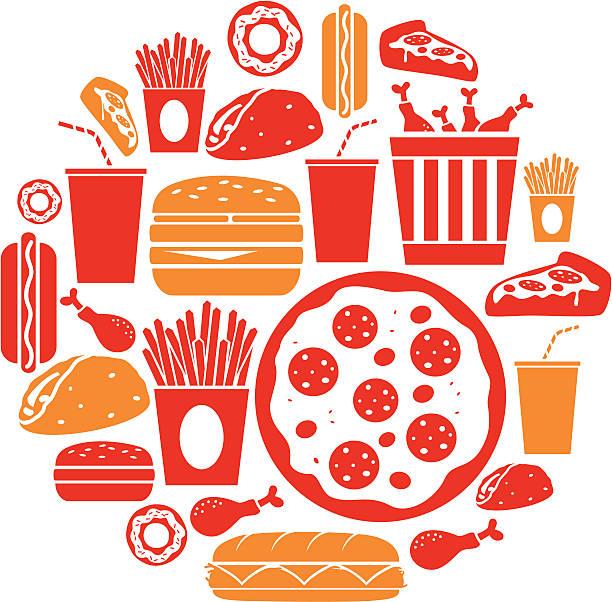 ilustraciones, imágenes clip art, dibujos animados e iconos de stock de iconos de comida rápida - comida chatarra
