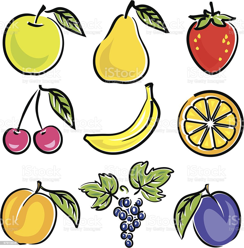An illustration of various fruits on a white background royalty-free an illustration of various fruits on a white background stock vector art & more images of agriculture