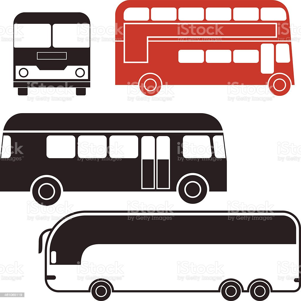 An illustration of various type of buses vector art illustration