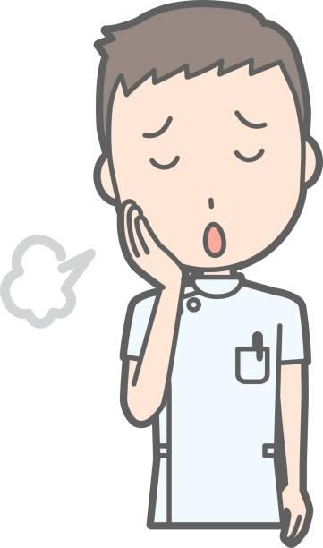 illustrations, cliparts, dessins animés et icônes de une illustration est soupirer un infirmier vêtu d'un costume blanc - aide soignant