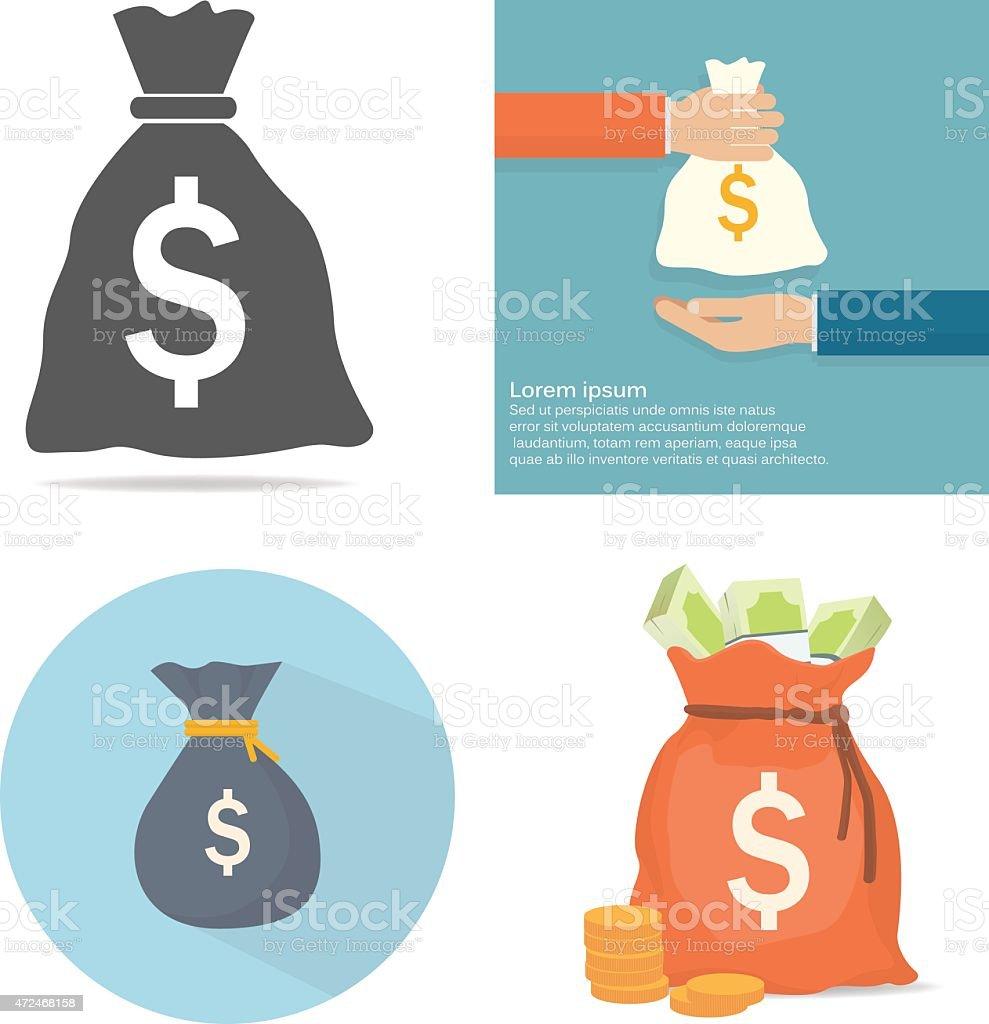 An illustrations of money bag  vector art illustration