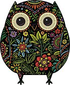 A hand drawn owl with a decorated floral finish.