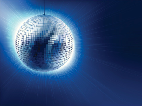 An Image Of A Silver Disco Ball Against Blue Background Stock Illustration - Download Image Now