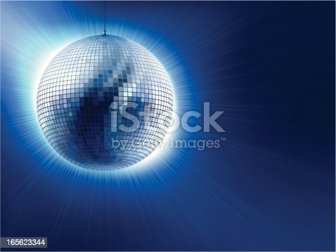 An Image Of A Silver Disco Ball Against Blue Background Stock Vector Art & More Images of Arts Culture and Entertainment 165623344