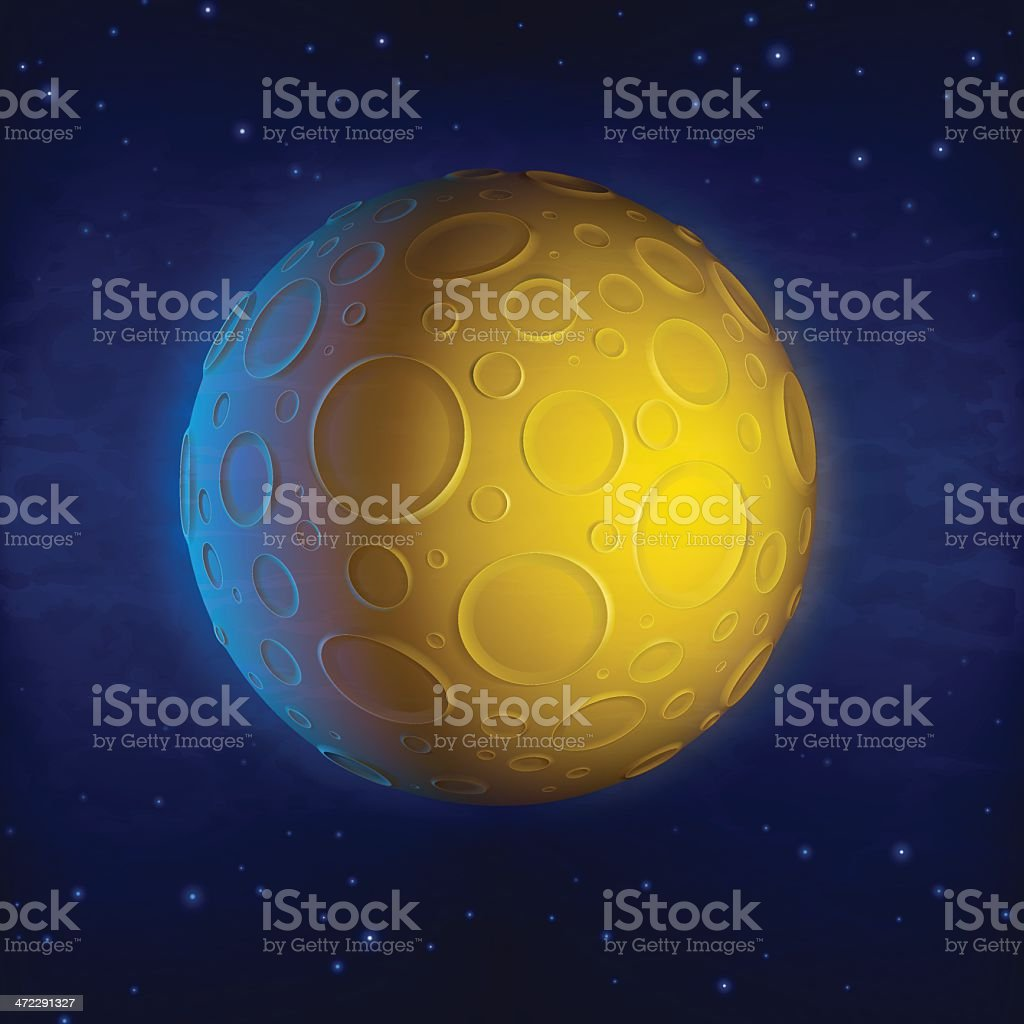 An image of a yellow planet with numerous round craters royalty-free an image of a yellow planet with numerous round craters stock vector art & more images of asteroid