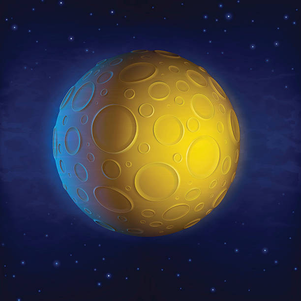 An image of a yellow planet with numerous round craters vector art illustration