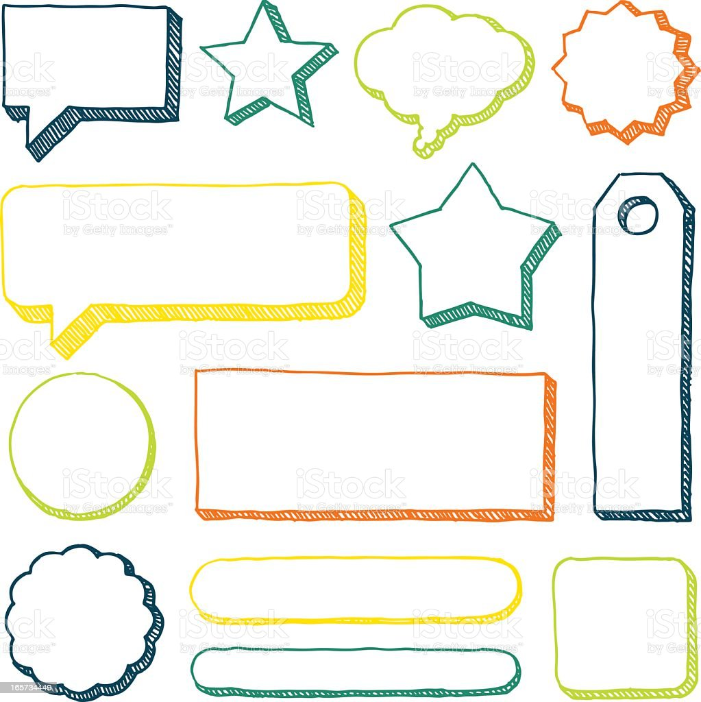An image of hand drawn banners in a variety of colors vector art illustration