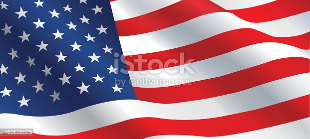 Vector illustration of American flag flowing in the wind.