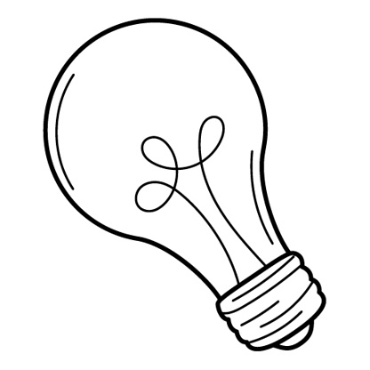 An incandescent light bulb, a symbol of an idea, insight. Doodle. Hand-drawn black and white vector illustration. The design elements are isolated on a white background.