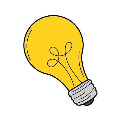 An incandescent light bulb, a symbol of an idea, insight. Doodle. Hand-drawn Colorful vector illustration. The design elements are isolated on a white background.
