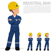 An industrial worker is folding arm on transparent background
