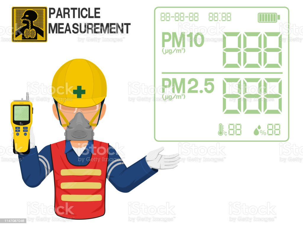 An Industrial Worker With Dust Mask Is Presenting Display Screen Of