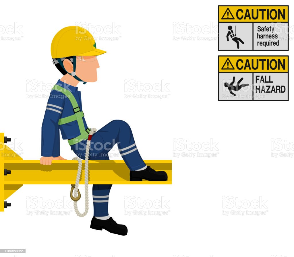 An Industrial Worker With Safety Harness Is Working At Height Stock Illustration Download Image Now Istock